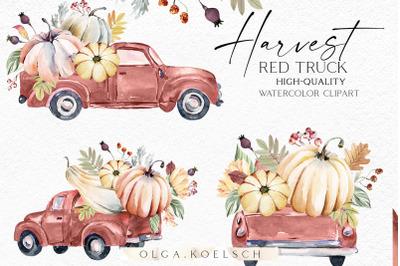 Watercolor fall truck clipart, Pumpkin harvest farm clipart, Garden pn