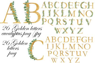 Alphabet clipart. Wedding. Eucalyptus. Birthday greetings.