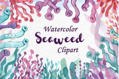 Watercolor Seaweed Clipart. Coral Reef