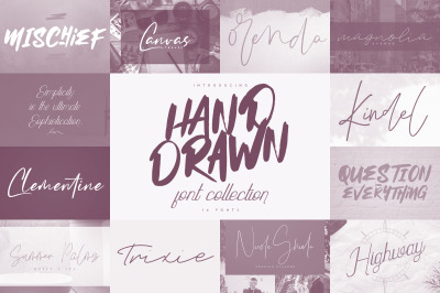 Hand Drawn Font Collection - 14 font