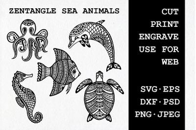 Set of zentangle sea animals| SVG DXF EPS PSD PNG JPEG