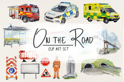 On the Road Clip Arts, Stickers and Poster