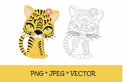 Tiger coloring page. symbol of 2022, png, jpeg, eps