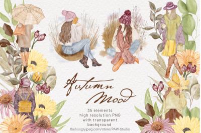 Autumn Girls Watercolor Clipart Boho Autumn Mood