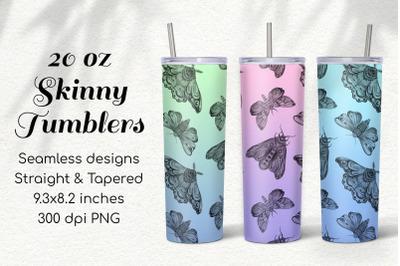 3 Seamless Gradient Moths 20 Oz Skinny Tumbler Sublimations