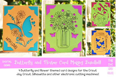 Butterfly and Flower card bundle! Works with the Cricut Joy / Explore