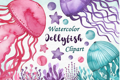 Watercolor jellyfish clipart, Jellyfish Download
