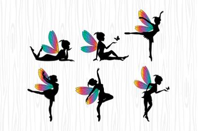 cute fairy silhouette vector illustration