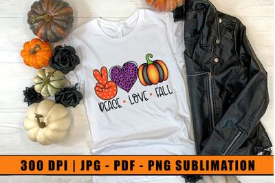 Peace Love Fall, Halloween Sublimation