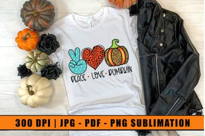 Peace Love Pumpkin, Sublimation Design