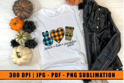 Peace Love Pumpkin Spice, Halloween Sublimation Design