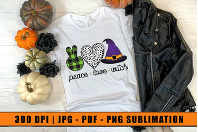 Peace Love Witch, Halloween Sublimation Design