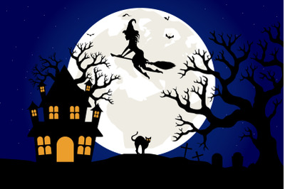 cute witch and moon landscape