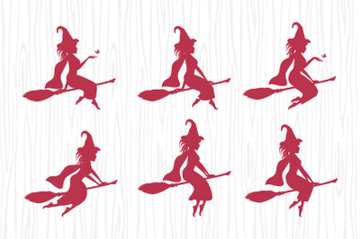 cute witch with a broom silhouette