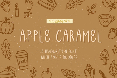 Apple Caramel | Casual Handwritten Font with Doodles