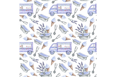 Lavender ice cream watercolor seamless pattern. Ice cream van