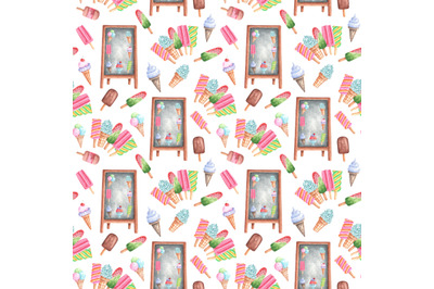 Ice cream shop watercolor seamless pattern. Ice cream set