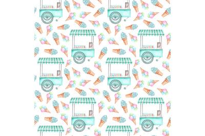 Ice cream cart watercolor seamless pattern. Ice cream set. Ice cream