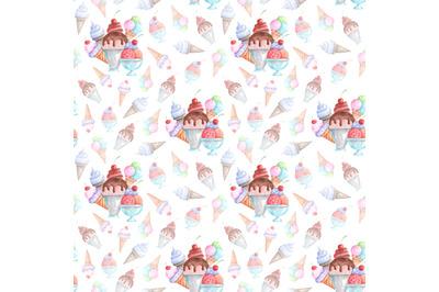 Ice cream dessert watercolor seamless pattern. Ice cream set. Summer