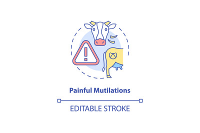 Painful mutilation concept icon