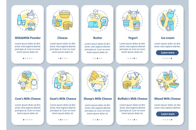 Dairy industry onboarding mobile app page screen with concepts set