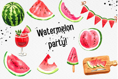 Watermelon Party, Summer Clipart