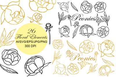 Flower SVG. Wedding. SVG. Birthday SVG. Peonies set.
