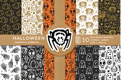Spooky Halloween vector seamless patterns Eps Png Jpeg