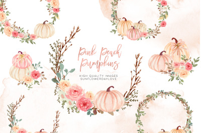 Pink Autumn pumpkin clipart, Watercolor Fall Pumpkin , Greenery Floral