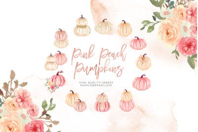 Pink Elements Pumpkin Clipart, Autumn Floral Leaves