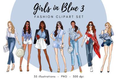Girls in Blue 3 - Fashion Clipart Set