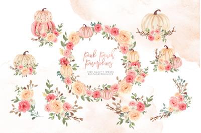 Pink Arrangements Pumpkin clipart, Watercolor Fall Pumpkin