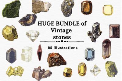 Vintage Stones Clipart, Crystals Bundle , Bohemian Decor Stones