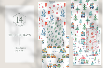 Watercolor Christmas seamless patterns - 14 Digital papers