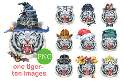 Watercolor fearsome white tiger