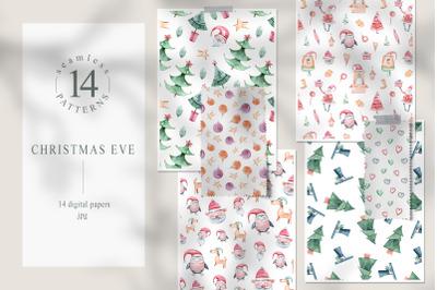 Watercolor Christmas seamless patterns. Digital paper pack