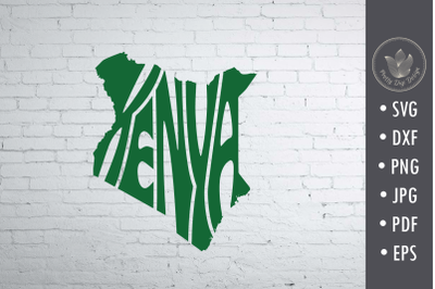 Kenya svg cut file Svg, Lettering in map shape, overlay