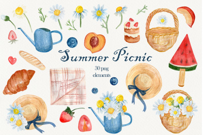 Summer picnic clipart, Food clip art, Chamomile flowers