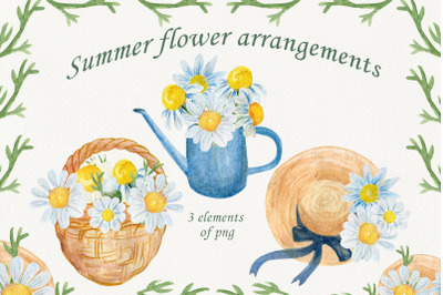 Watercolor card, Flowers arrangement clipart
