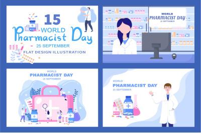 15 World Pharmacists Day Vector Illustration