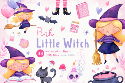 Pink Little Witch Watercolor Halloween Clipart, Cute Witch PNG