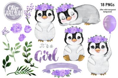 Purple Penguin girl with Flowers Set, 18 watercolor clip arts