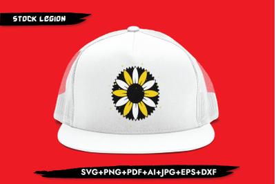 Sunflower Black Yellow SVG