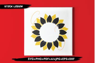 Sunflower Black Yellow Petals SVG