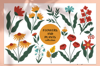 Flowers and plants vintage set