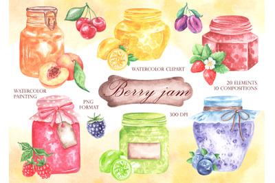 Berry jam watercolor clipart. Jam clipart. Berries clipart. Fruit jam