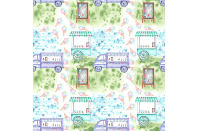 Ice cream van watercolor seamless pattern (digital paper). Ice cream