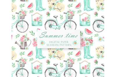 Summer watercolor digital paper. Seamless pattern. Watering can, bike