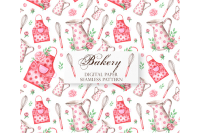 Bakery watercolor digital paper. Seamless pattern. Jug. Apron. Corolla. Confectionery, bakery, cookbook, pastries. Pattern.