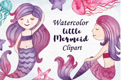 Watercolor little mermaid clipart